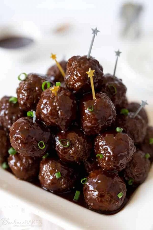 Sweet bbq meat balls made in an Instant Pot plated up for a party.