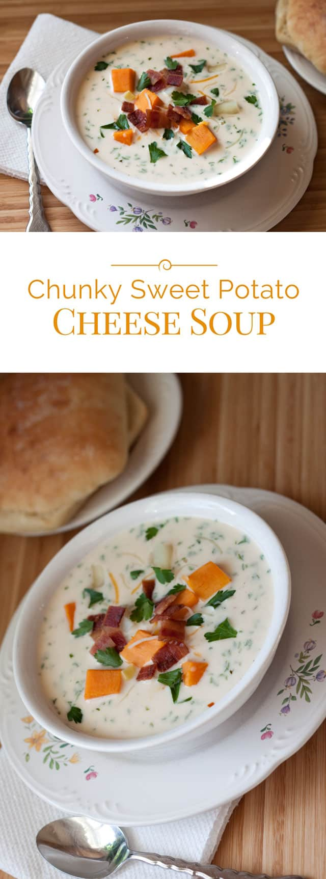 A creamy, chunky sweet potato cheese soup loaded with tender chunks of sweet potatoes, russet potatoes, corn and bacon.