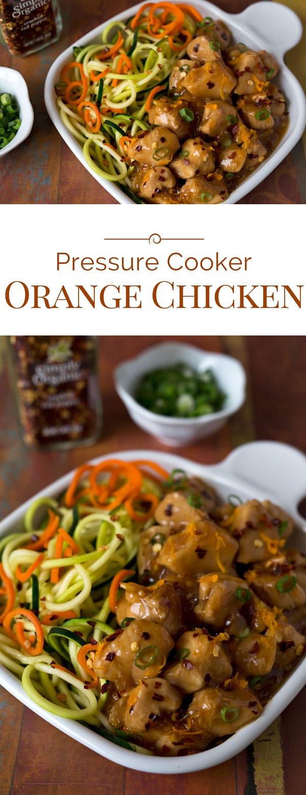 Tender bite-size pieces of chicken in a sweet, spicy orange sauce. This delicious Pressure Cooker Orange Chicken can be on the table in about 20 minutes.