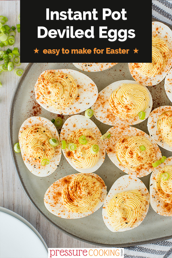 Use up your hard-boiled eggs from Easter! Deviled eggs are a delicious treat to make from Instant Pot hard boiled eggs. Plus, get my secret ingredient for UNFORGETTABLE Deviled Eggs. #pressurecooker #instantpot #eggs #appetizer via @PressureCook2da