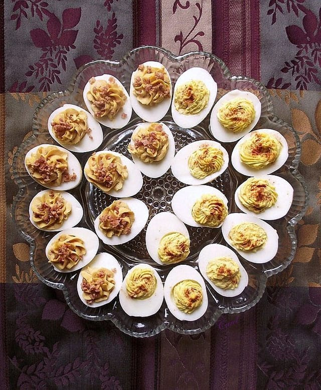 Spicy up your deviled eggs! Bacon Barbecue and Zesty Deviled Eggs - Pressure Cooker Deviled Eggs.