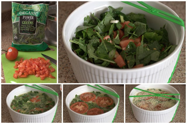 making an Instant Pot quiche with fresh spinach and tomatoes