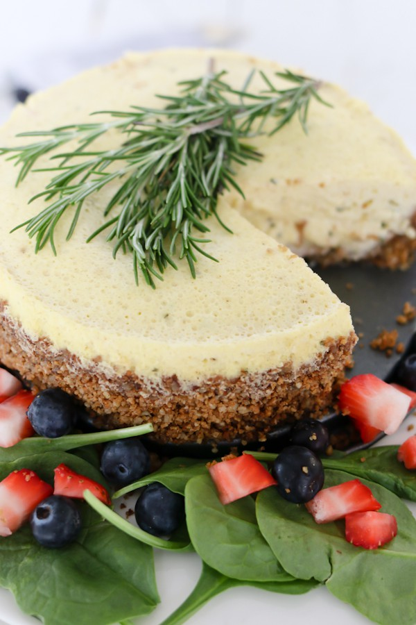 overhead image of a savory cheesecake made with blue cheese