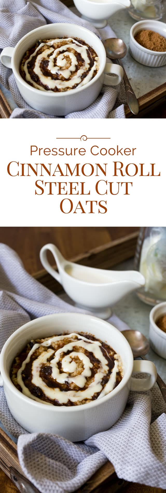 Cinnamon roll steel cut oats is a delicious and sweet baked oatmeal topped with brown sugar cinnamon and a swirl of cream cheese icing, made in an Instant Pot electric pressure cooker. Why have plain boring oatmeal when you can make this baked cinnamon roll steel cut oatmeal recipe? #instantpot #pressurecooker #pressurecooking #breakfast #oatmeal