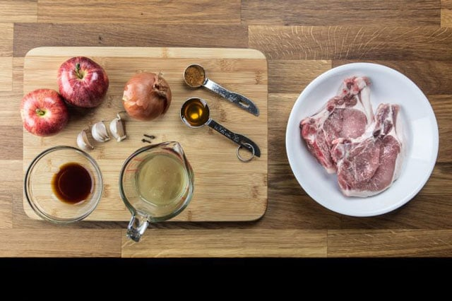 Ingredients to make 1 Minute Pressure Cooker Pork Chops in an Instant Pot
