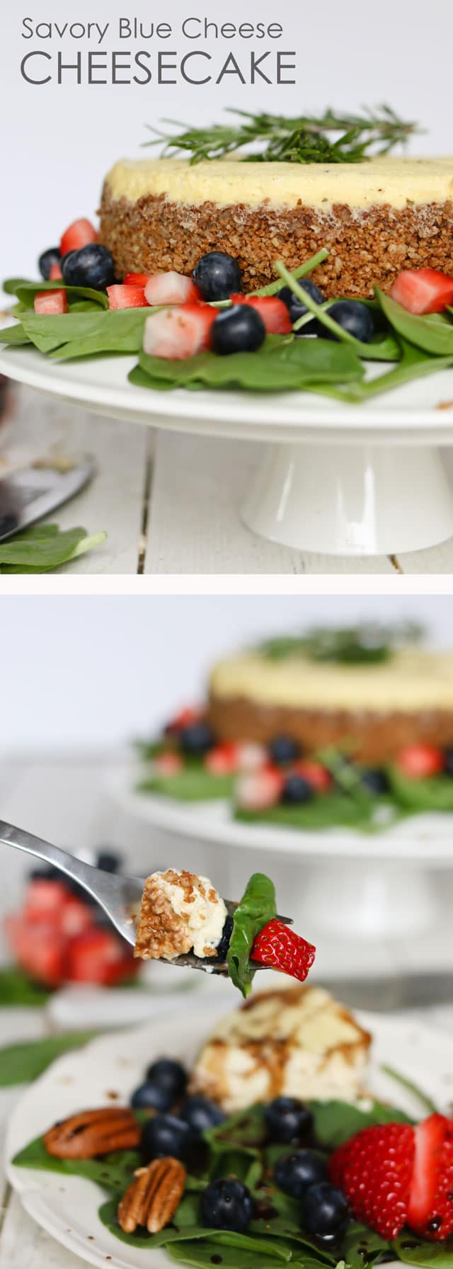 titled photo collage - Savory Blue Cheese Cheesecake