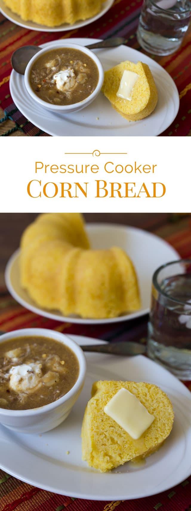 titled photo collage - Pressure Cooker Corn Bread
