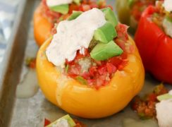 Pressure Cooker (Instant Pot) Stuffed Bell Peppers with Chipotle Lime Sauce