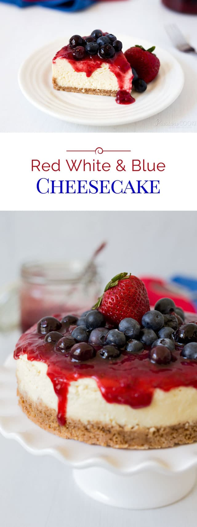 Red White and Blue Cheesecake is the perfect cheesecake recipe to make for a 4th of July dessert. This creamy Instant Pot cheesecake is one of the best pressure cooker cheesecake recipes to make for any patriotic holiday! #pressurecooking #instantpot #cheesecake #4thofJuly #dessert via @PressureCook2da