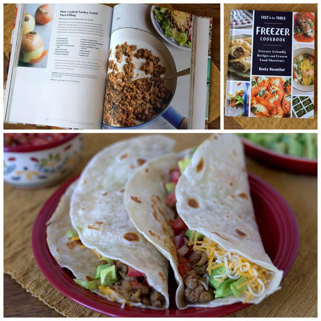 photo collage- cookbook of freezer friendly meals on top of the collage and pressure cooker lentil and ground turkey tacos on the bottom