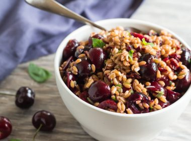 bowl of pressure cooker farro and cherry salad, made in an Instant Pot