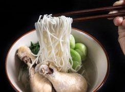 bowl of pressure cooker Bok Choy Chicken Soup Noodles