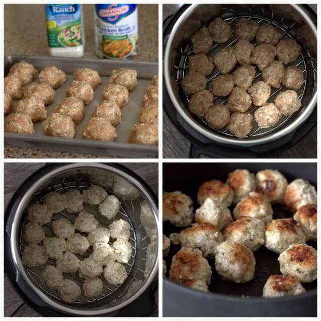 photo collage - Making Pressure Cooker Chicken Parmesan Meatballs