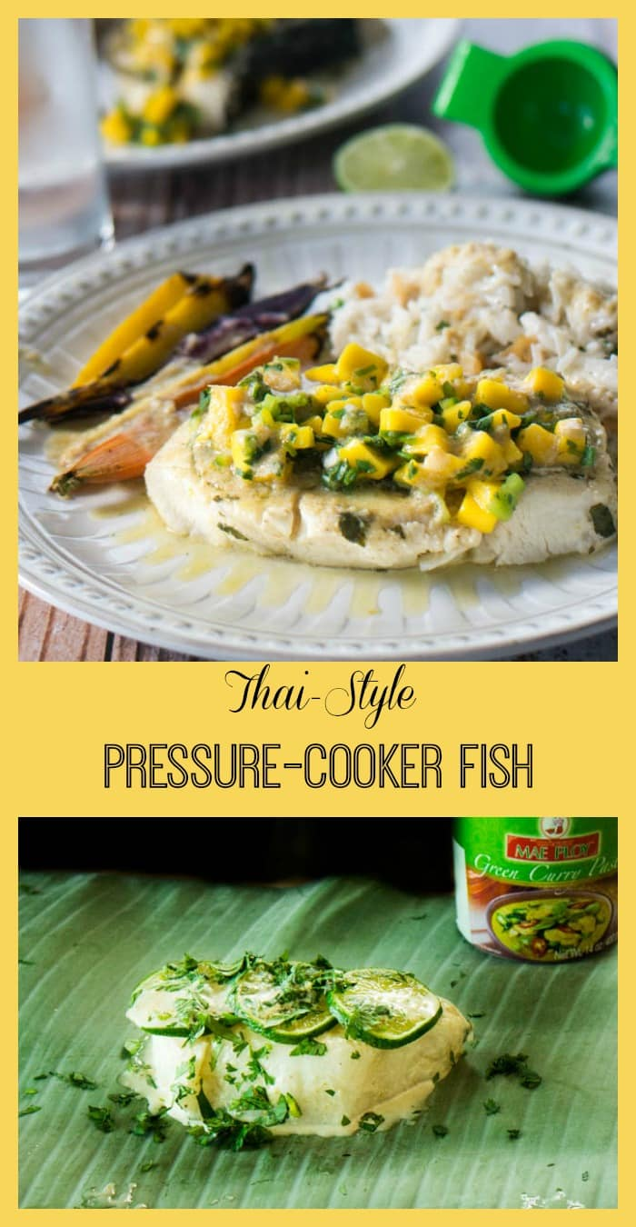 A Thai curry marinade adds tropical flavor to this Thai-Style Pressure Cooker Fish steamed in banana leaves and topped with fresh mango salsa.