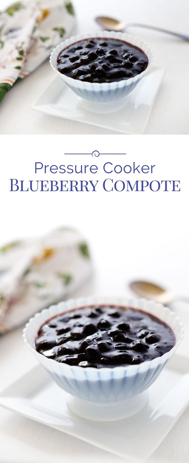 titled photo collage - pressure cooker blueberry compote