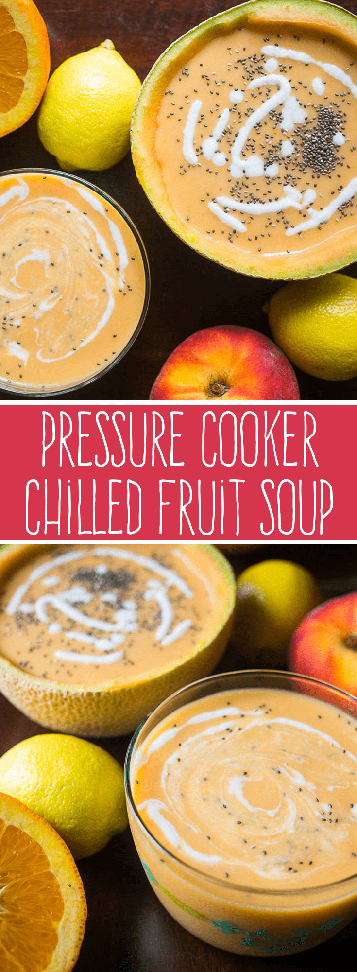 Chilled Fruit Soup is the perfect way to turn your favorite summer fruits into a creamy and delicious snack, dessert, or wholesome breakfast!This Pressure Cooker chilled fruit soup recipe makes a refreshing meal any time of the day! #soup #summerrecipes #instantpot #pressurecooker via @PressureCook2da