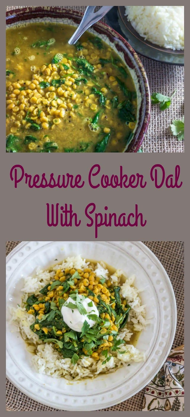 Pressure Cooker Dal With Spinach - titled photo collage