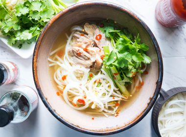 bowl of Pressure Cooker (Instant Pot) Pho Ga