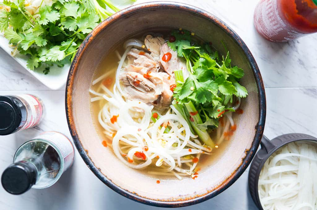 Pressure Cooker Pho Ga. The authentic flavors of Vietnamese pho, but in only 20 minutes! This pho for beginners is a cozy, feel good soup that is the perfect way to warm up on a cool autumn evening.
