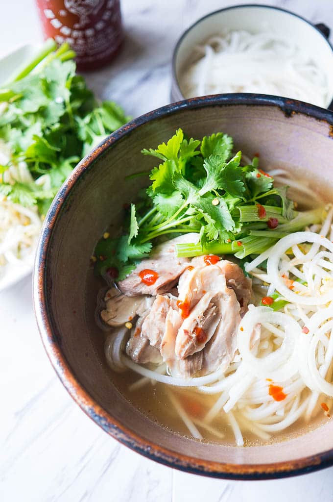 bowl of Vietnamese Pho Ga, made in an Instant Pot