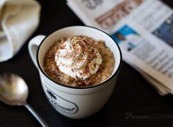 a mug filled with Pressure Cooker (Instant Pot) Vanilla Latte Steel Cut Oats