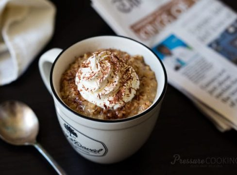 a mug filled with Pressure Cooker (Instant Pot) Vanilla Latte Steel Cut Oats