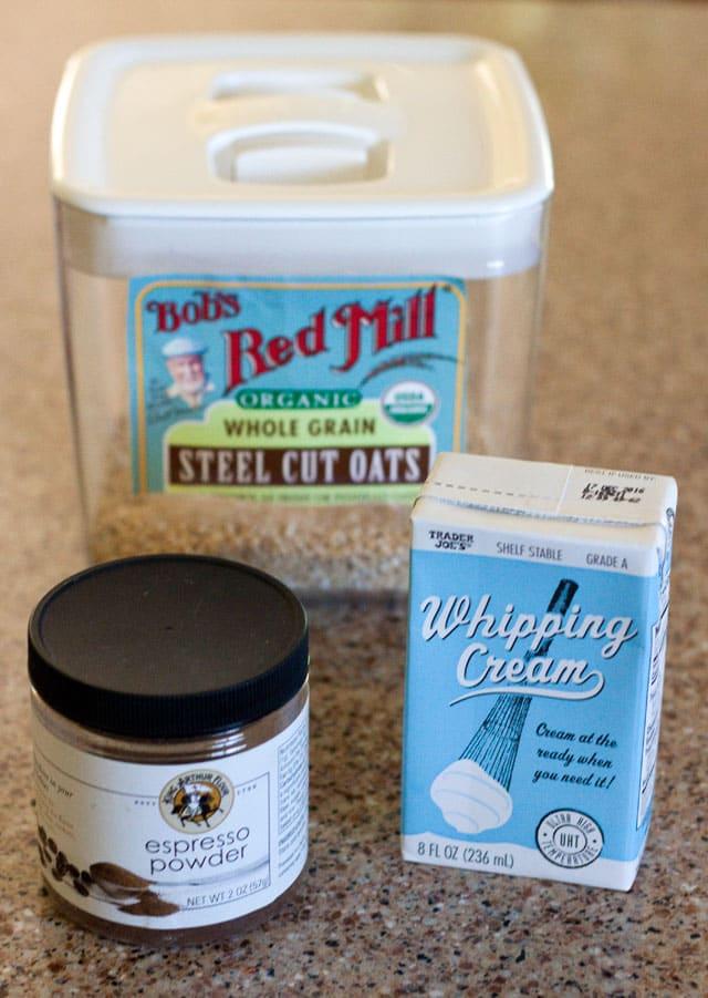 Ingredients for Pressure Cooker Vanilla Latte Steel Cut Oats