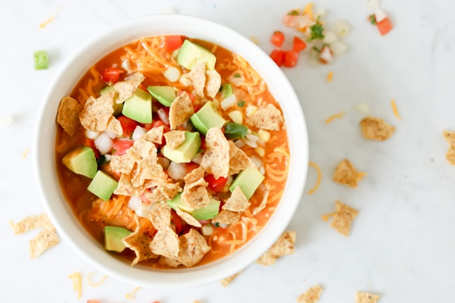 Welcome fall with this comforting, veggie packed, healthy, and delicious, easy Pressure Cooker (Instant Pot) Creamy Enchilada Soup.
