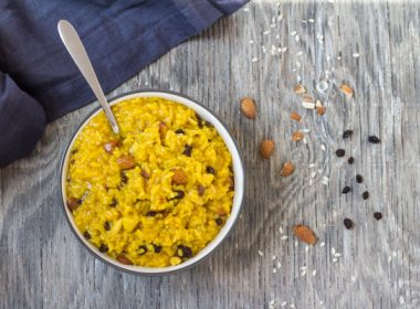 Instant Pot Saffron Risotto with Almonds and Currants