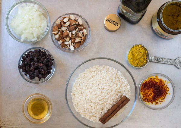 ingredients for Pressure Cooker Saffron Risotto with Almonds and Currants