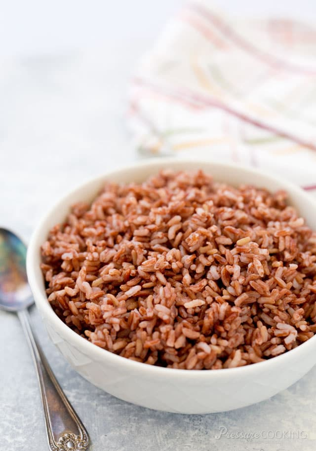 Pressure Cooker Pink Rice lightly milled to retain the wholesome bran but it cooks in a fraction of the time of brown rice.