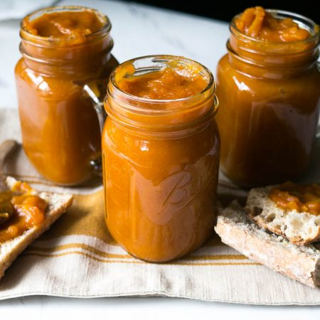 Pressure Cooker Spiced Pumpkin Apple Butter. A seasonal treat to slather on fresh bread, pancakes, or even as a topping for ice cream. Makes your house smell fabulous too!