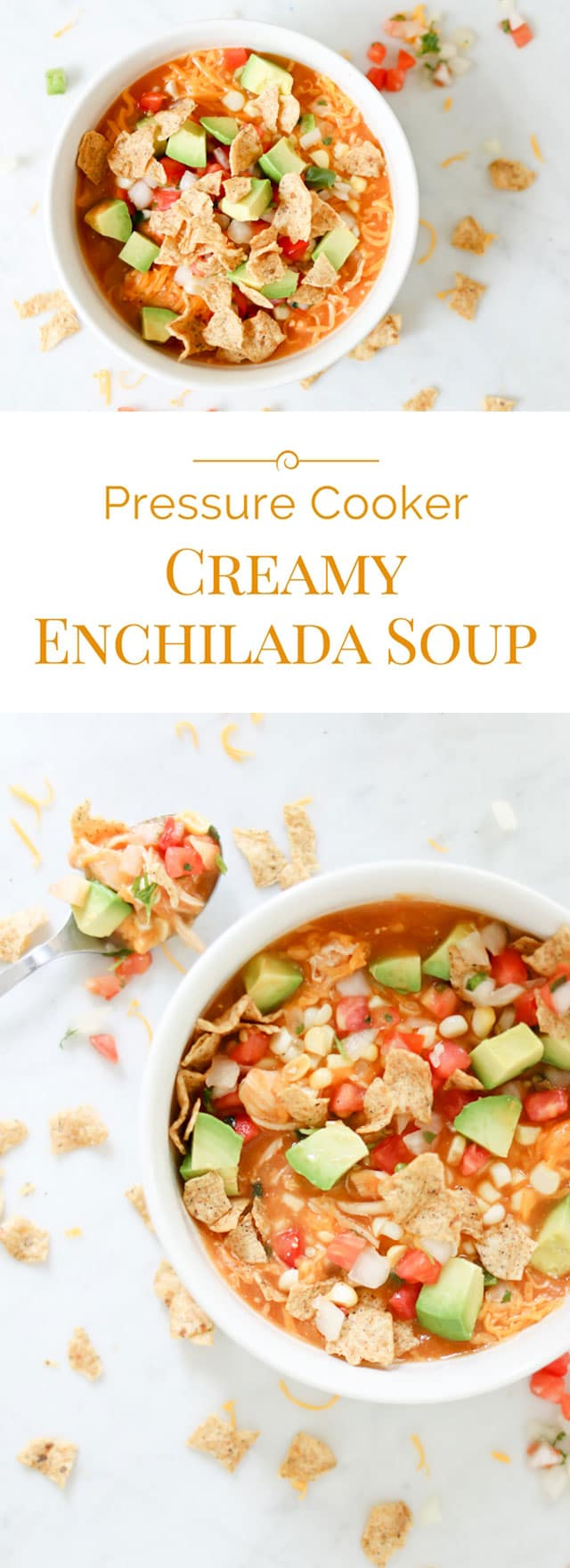 Welcome fall with this comforting, veggie packed, healthy, and delicious, easy-to-make Pressure Cooker Creamy Enchilada Soup.