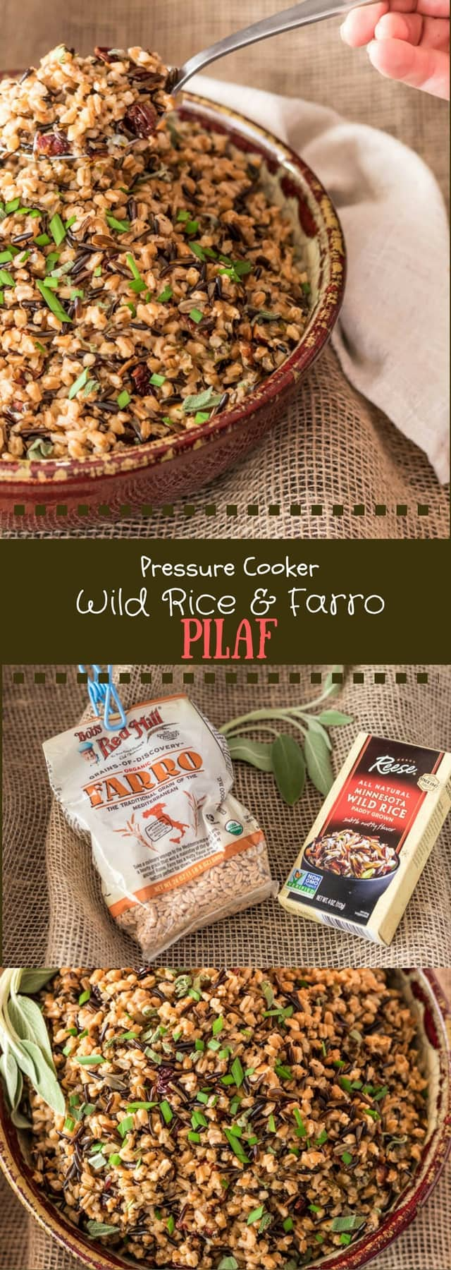 Pressure Cooker Wild Rice and Farro Pilaf photo collage