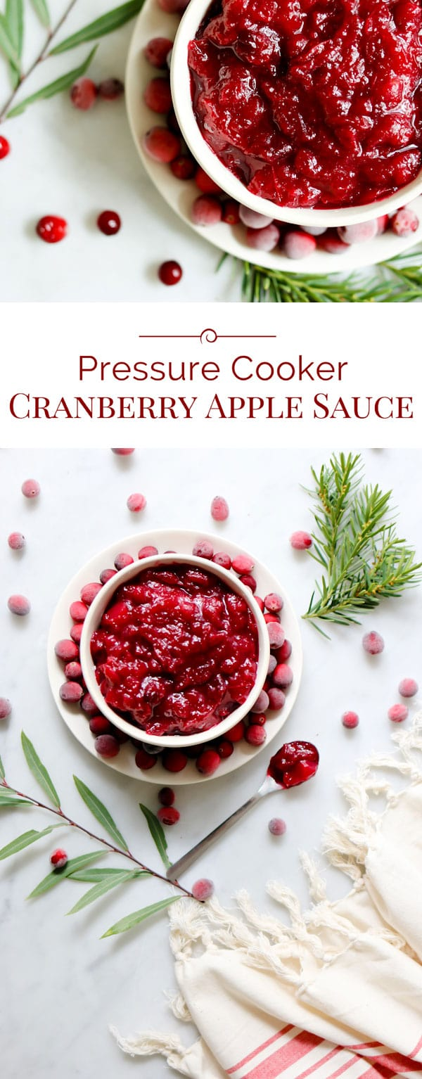 photo collage of Pressure Cooker Cranberry Apple Sauce