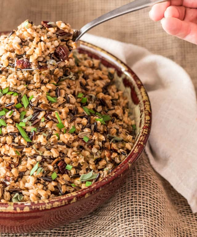 terra cotta bowl filled with pressure cooked Wild Rice and Farro Pilaf