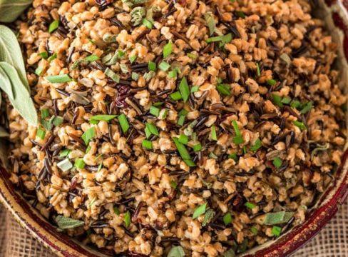 Pressure Cooker Wild Rice and Farro Pilaf