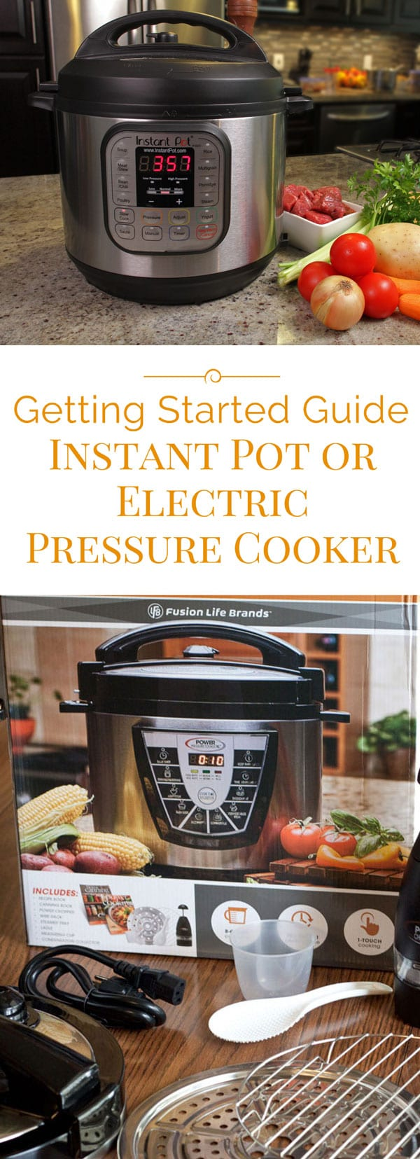 Getting started with your new Electric Pressure Cooker or Instant Pot? Electric pressure cookers make cooking faster and easier than ever before! Here are my tips on using electric pressure cookers and multi-cookers like the Instant Pot, Fagor Lux, Power Pressure Cooker XL, and others.