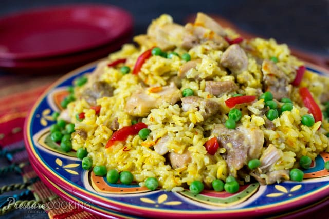 Pressure Cooker Arroz con Pollo on a colorful plate