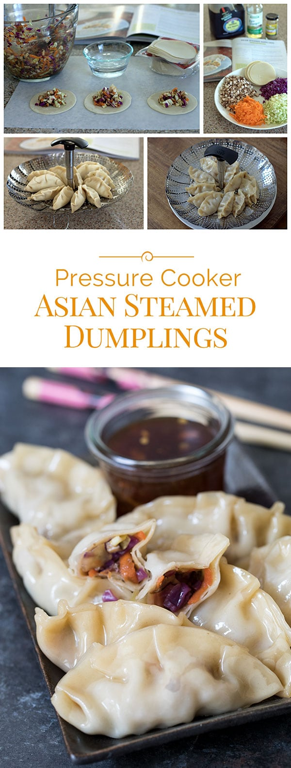 photo collage of Asian steamed dumplings, made in an Instant Pot