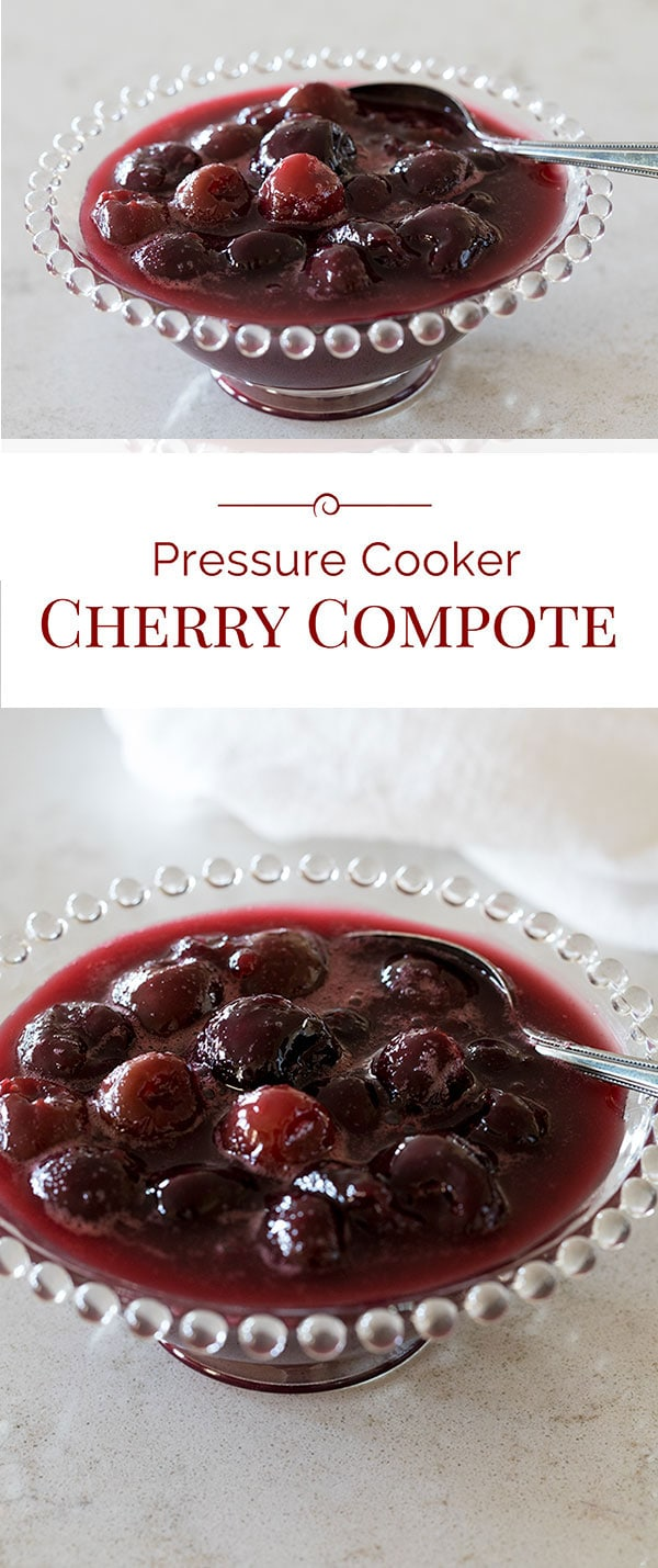 A quick, easy-to-make, delicious Pressure Cooker Cherry Compote made with frozen cherries so you can enjoy it any time of year.