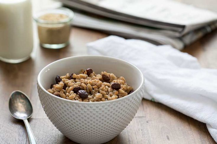 Pressure Cooker Brown Sugar Raisin Breakfast Farro