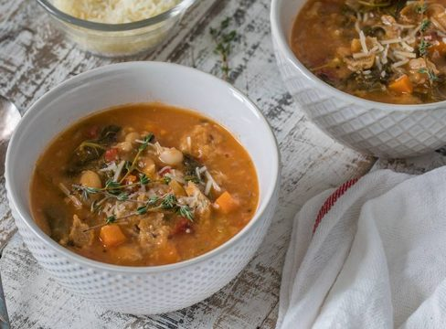 Ribollita is a hearty Tuscan soup loaded with vegetables and beans and thickened with crusty whole grain bread.
