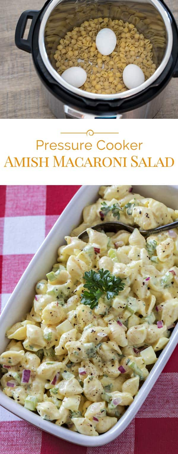 Easy-to-make pressure cooker Amish Macaroni Salad is a classic, old-fashioned side dish for summer. Perfect with whatever you're grilling or that picnic in the park.