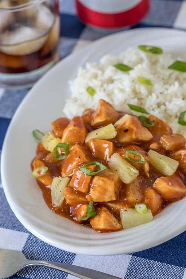 A mash up of flavors with tender chunks of chicken and sweet pineapple in a tangy barbecue sauce.