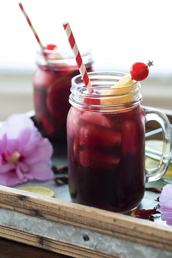Hibiscus tea is a natural source of Vitamin C and antioxidants, and may lower blood pressure. You can drink it hot or cold.