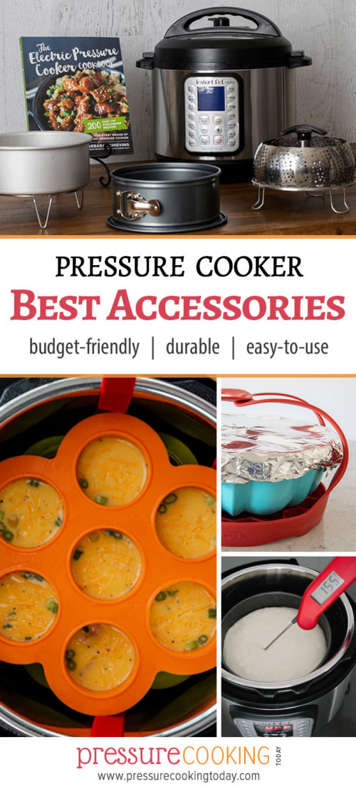 Pinterest Image for Pressure Cooking Today's recommended accessories, featuring a cake pan, sling, bundt pan, silicone egg bite tray, and Instant-read thermometer.