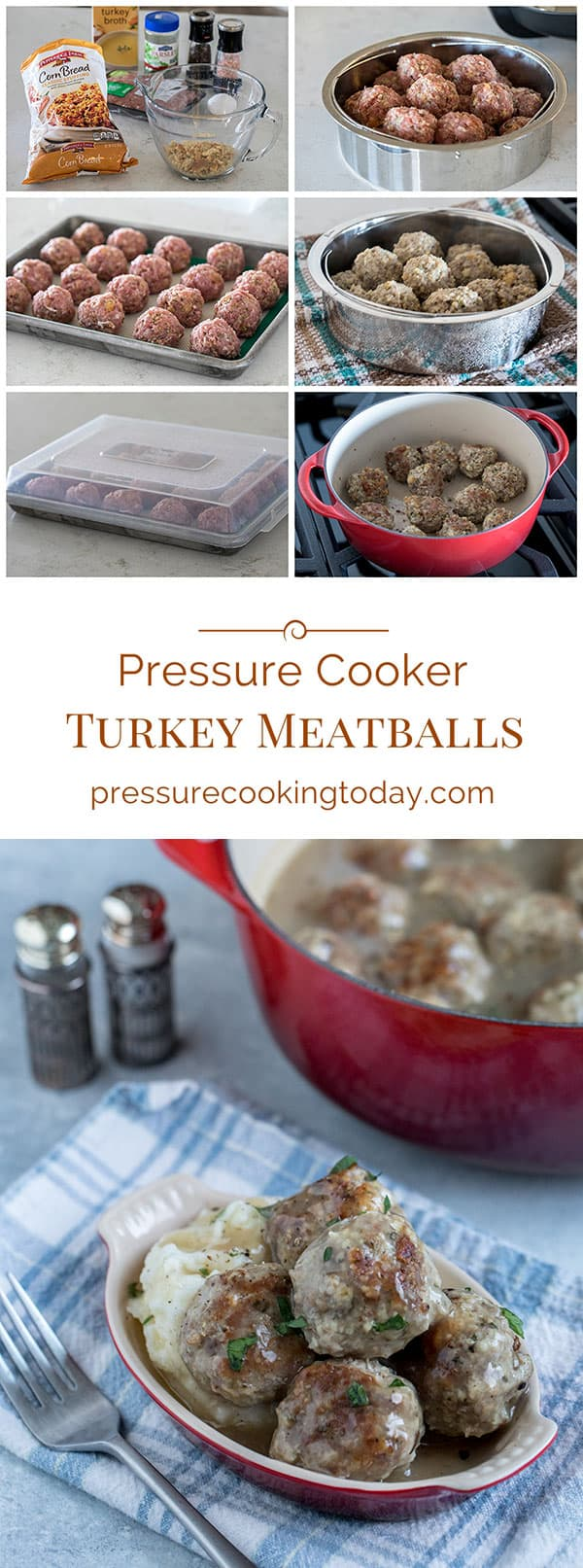 These Pressure Cooker Turkey Meatballs served over mashed potatoes with gravy have all the flavors of a big turkey dinner without all the work.