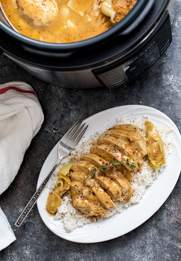 platter of artichoke chicken, made in an electric pressure cooker