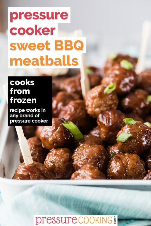 Instant Pot / Pressure Cooker BBQ meatballs—made with grape jelly and barbecue sauce. Plated up with cocktail forks and garnished with green onions